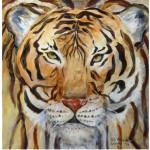Elfen oder Tiger, 2014, Mischtechnik, 50 x 50 cm