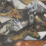 WILDPFERDE II, 2015, Öl auf Leinwand, 2 m x 1,40 m