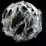 wirrpunkt ,2014 , integration von Metall in Glas Øca.43cm