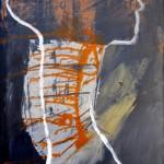 ICH TRAGE NACHT IN MIR . waiting 2014 (mixed media - Erden, Öl, Acryl, LW 60x40cm)