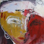 ICH TRAGE NACHT IN MIR . yellow-red-again 2015 (mixed media - Erde, Acryl, Öl, Grafit, 60x40cm)